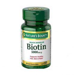 Hair, Skin & Nail - Nature's Bounty Biotin 5000 mcg, 60 Quick Dissolve Tablets