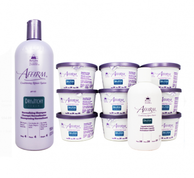 Avlon Affirm Dry and Itchy Scalp Sensitive Scalp Normalizing Shampoo & Relaxer 9 Kit Set - Pack